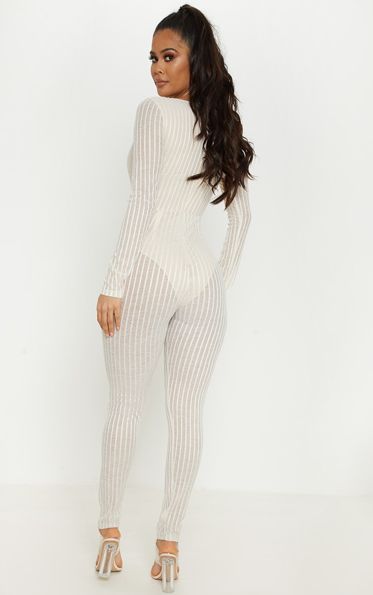 Nude Striped Mesh Sheer Plunge Jumpsuit 2