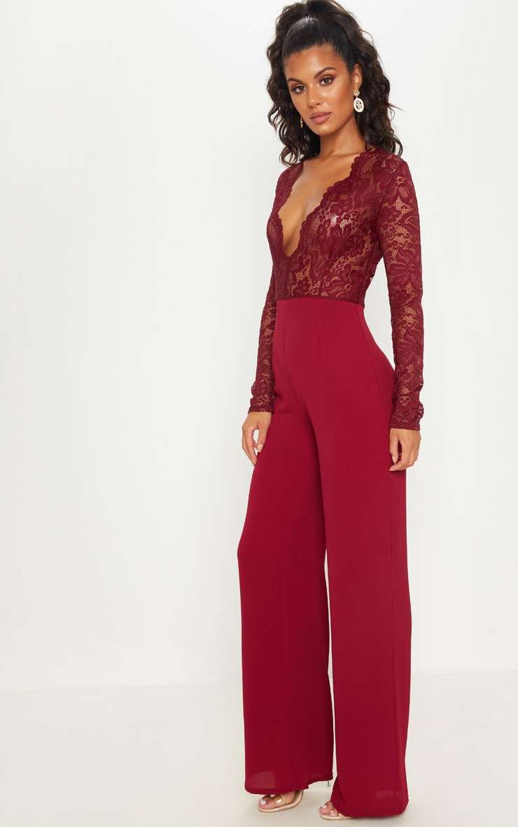 Burgundy Lace Long Sleeve Plunge Jumpsuit 4