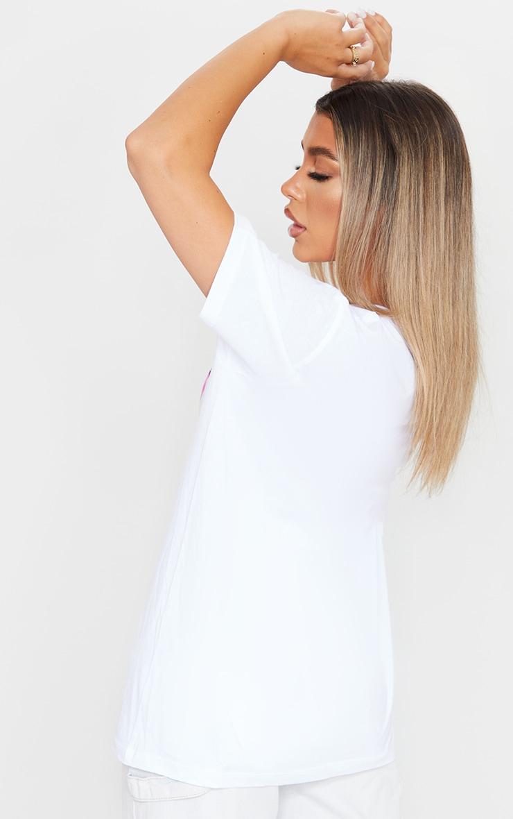 White Printed Short Sleeve T Shirt 2