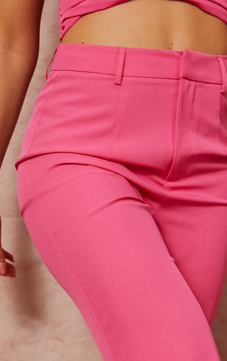 Hot Pink Woven Zip Front Straight Leg Trousers 4