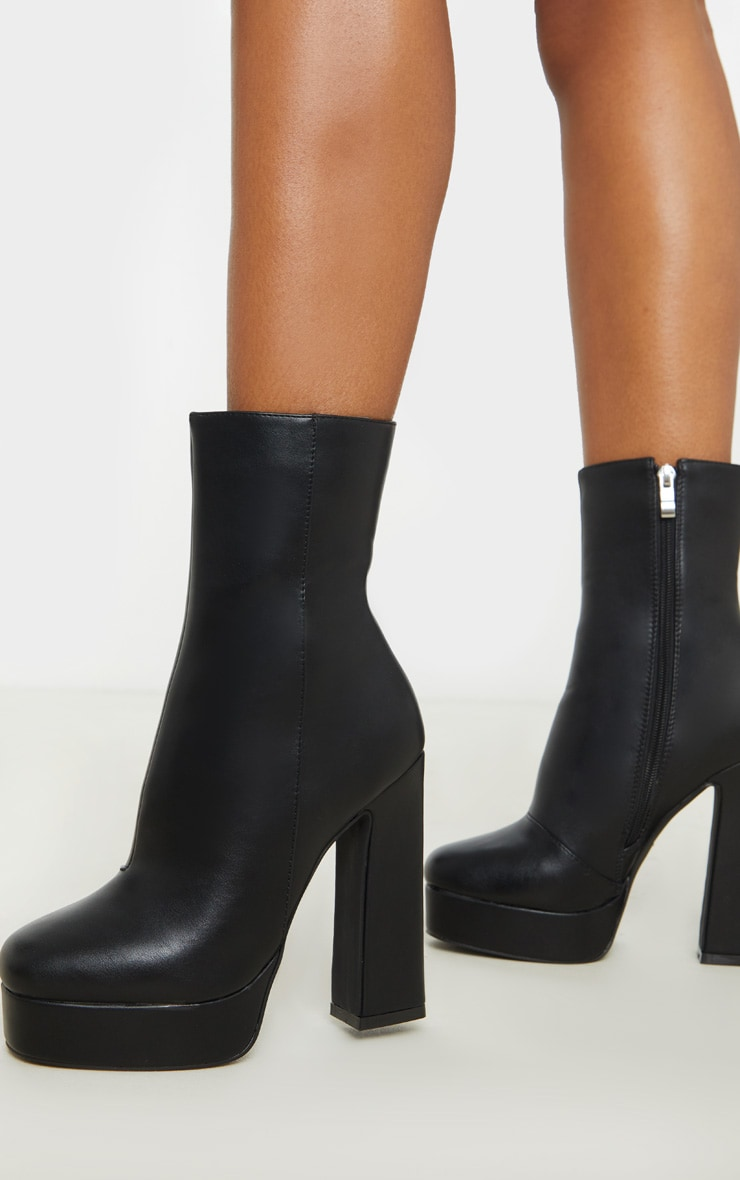 Black Platform Ankle Boot 1
