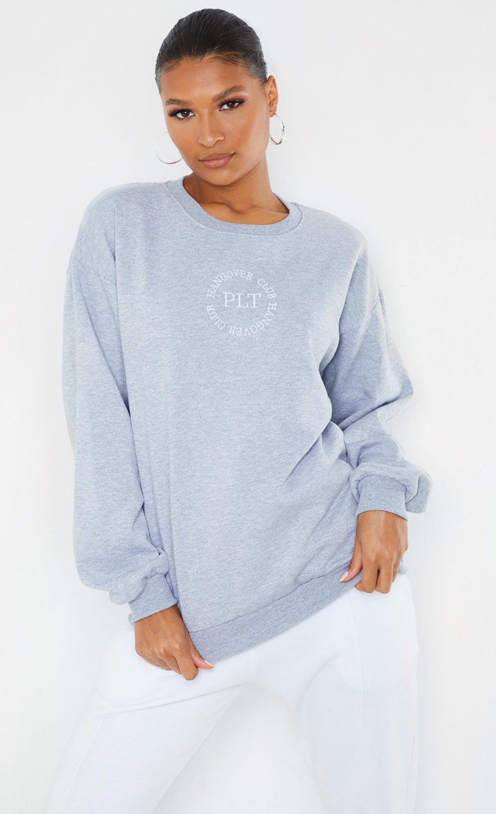 PRETTYLITTLETHING Grey Hangover Club Embroidered Sweat 1