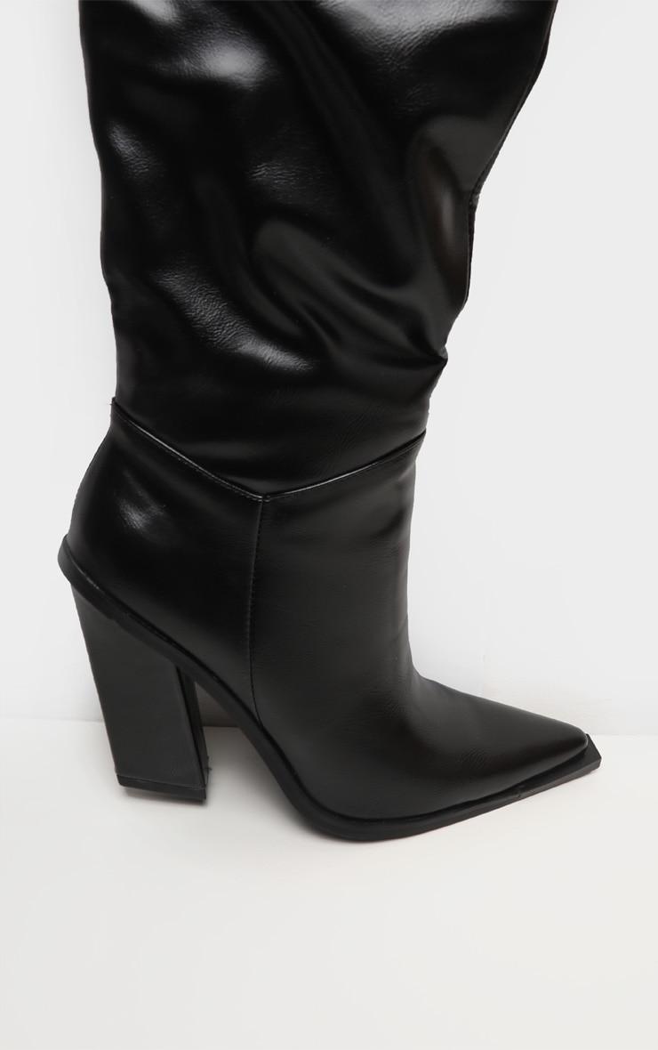 Black Borg Cuff Thigh High Boot 4