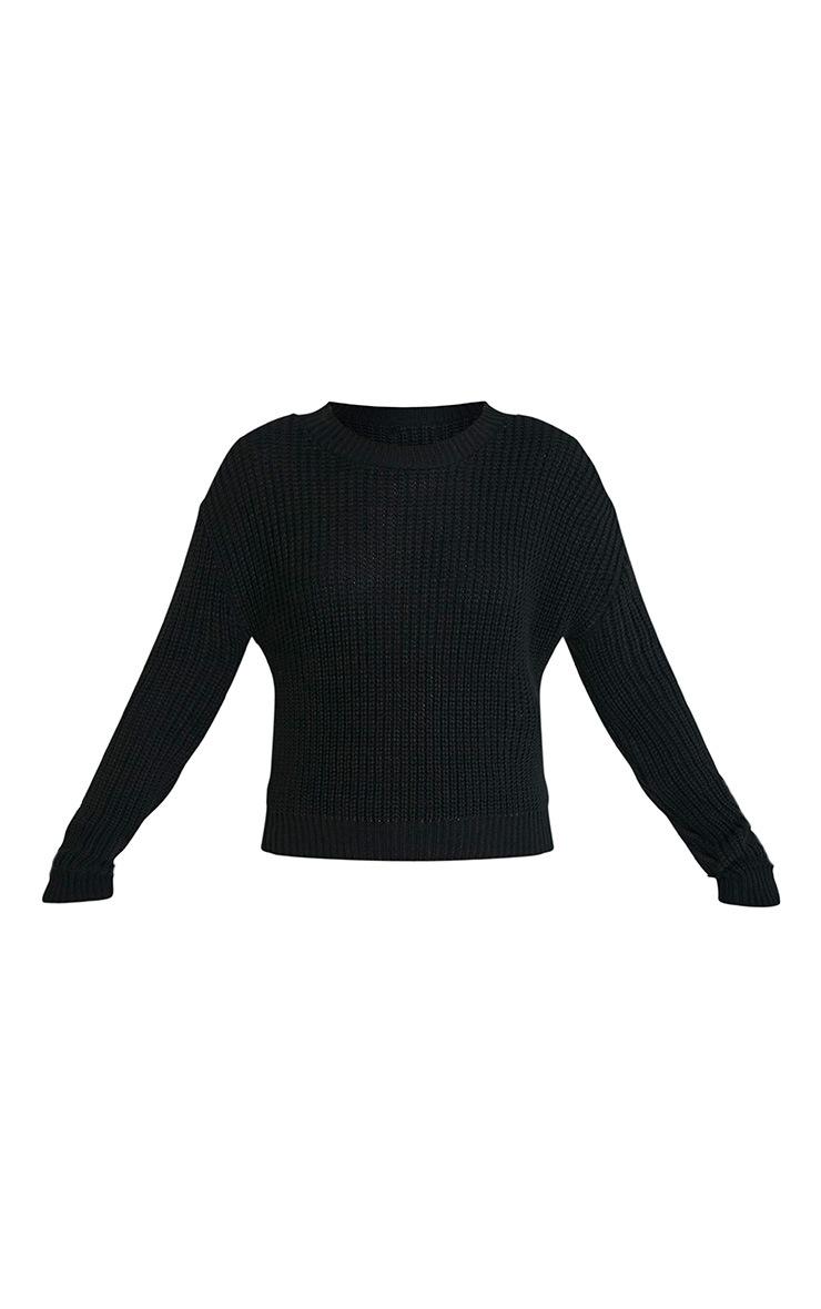 Cara Black Knitted Crop Jumper 3