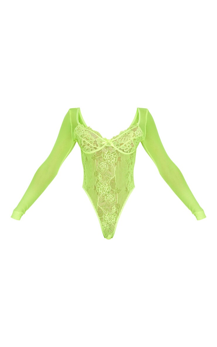 Neon Lime Long Sleeve Lace Insert High Leg Cupped Body 3