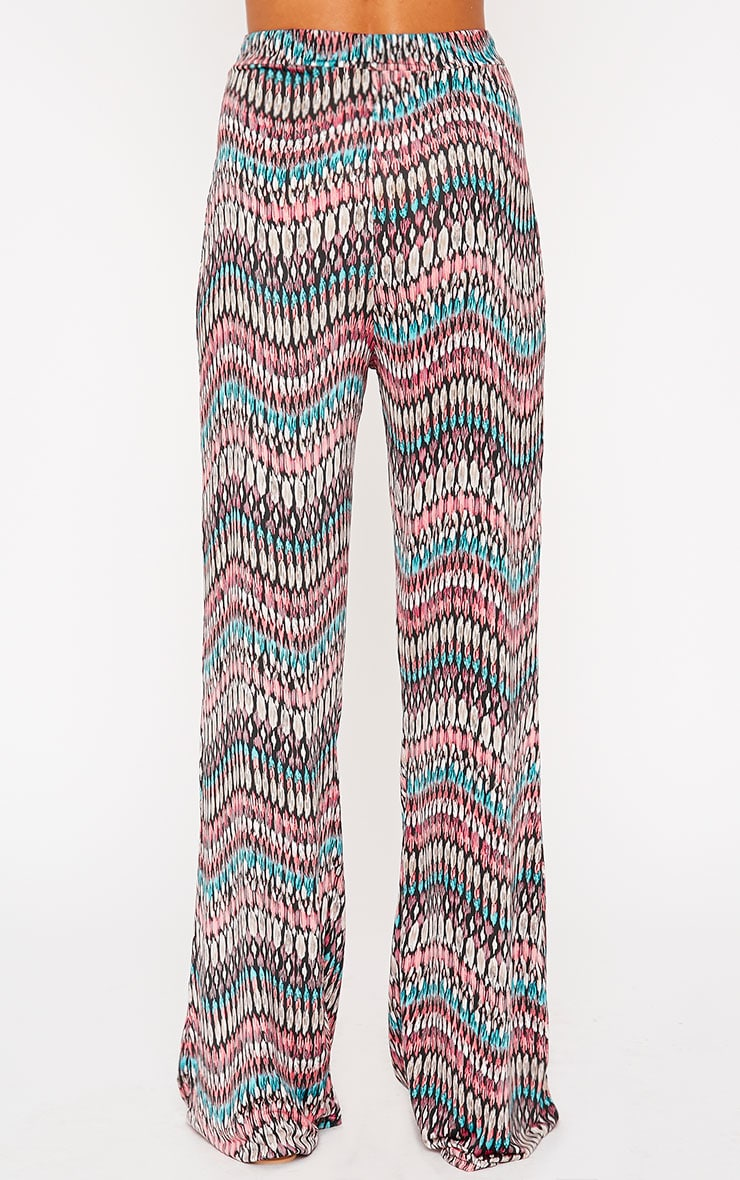 Keris Feather Print Wide Leg Trousers 4
