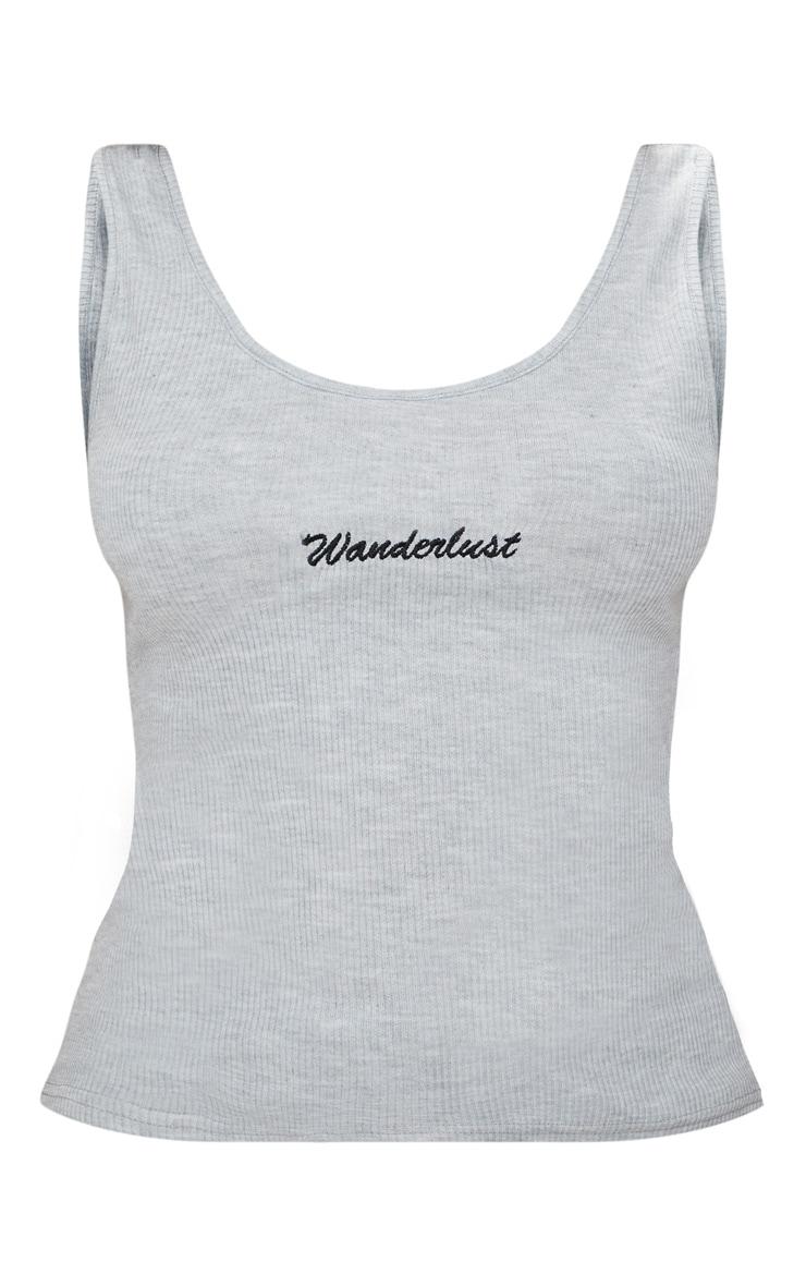 Grey Embroidered Wanderlust Vest Top  3