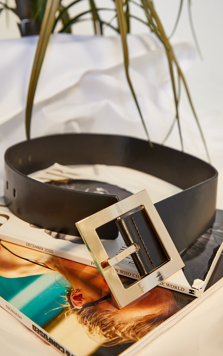 Black Oversized Gold Buckle Chunky Waist Belt 3