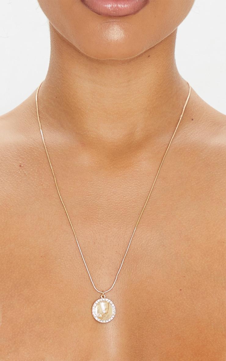 Gold Diamante Nefertiti Coin Necklace 3