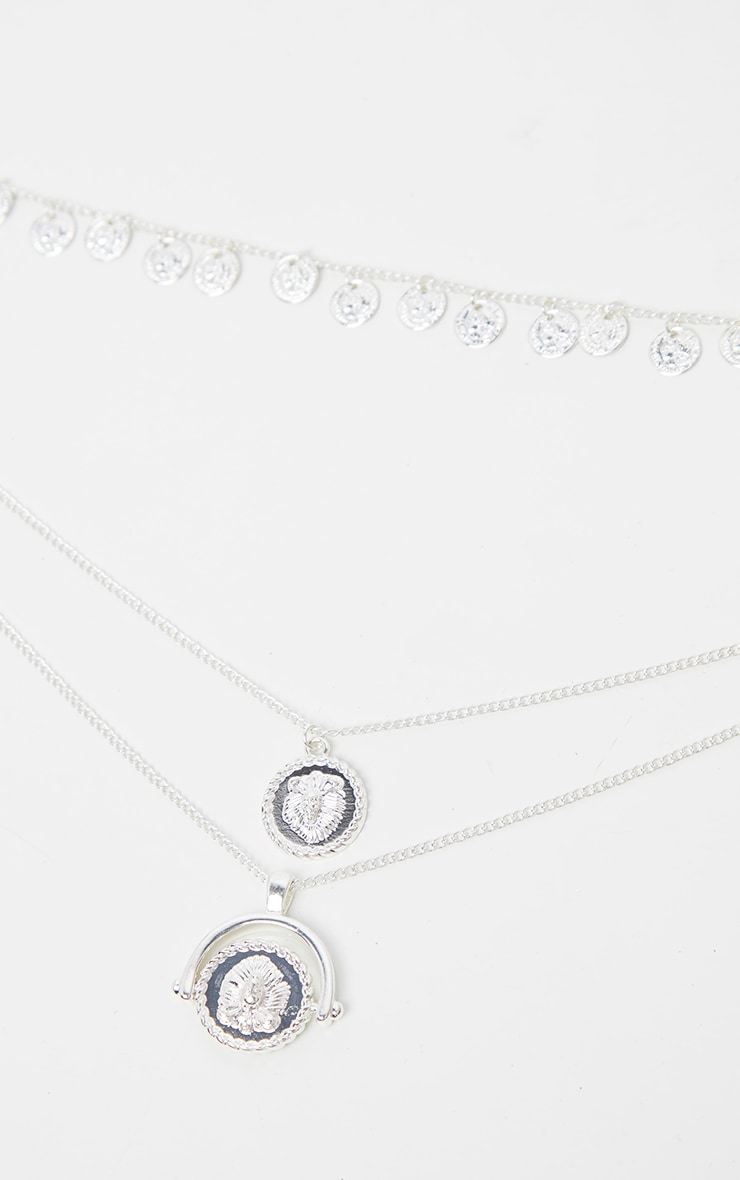 Silver Triple Layer Mini Disc Spinning Charm Necklace 3