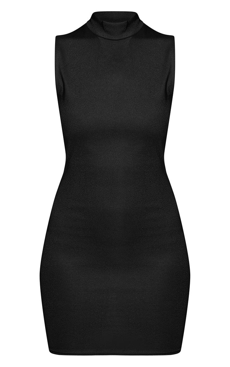 Black High Neck Sleeveless Bodycon Dress 3