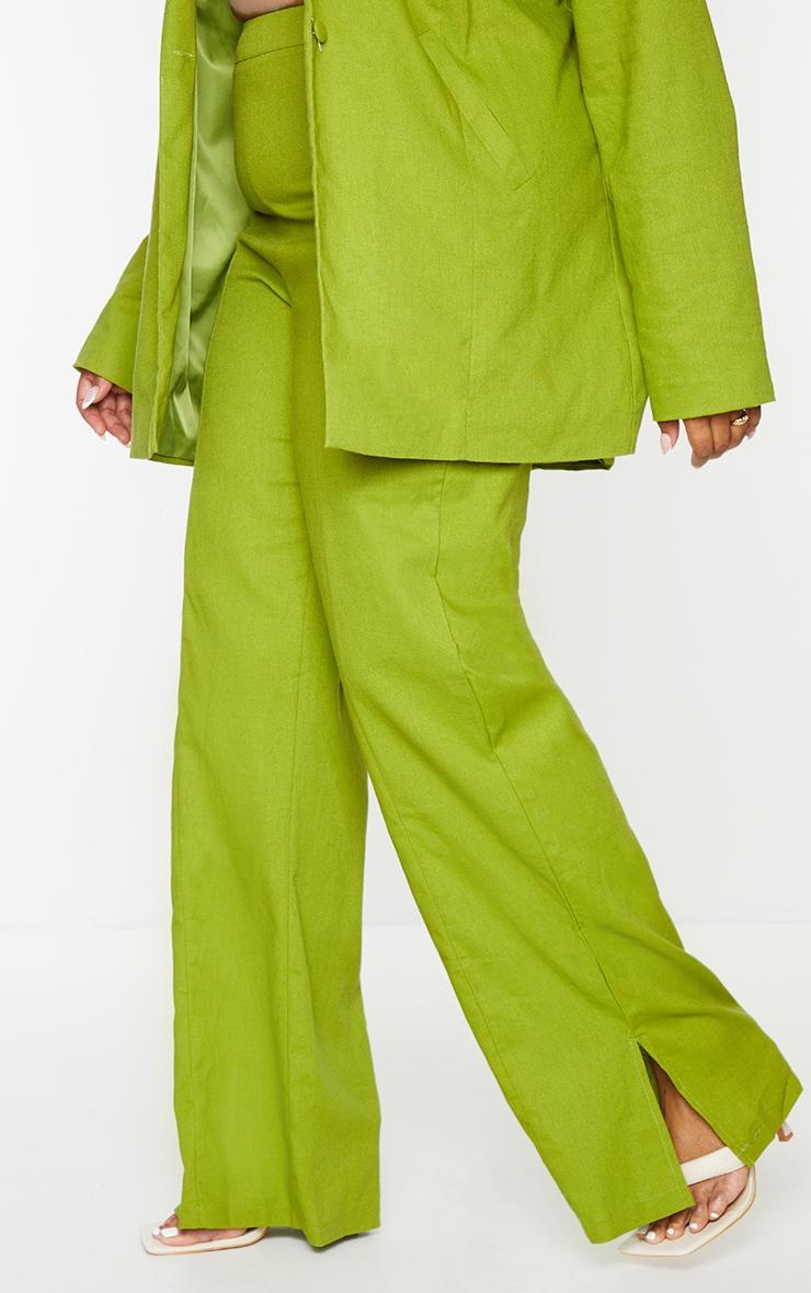 Plus Olive Linen Look Side Split Trousers 2