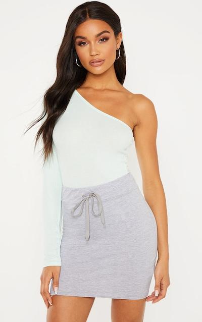 c311affd0f12f Grey Marl Cotton Drawstring Mini Skirt