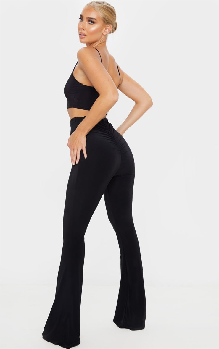 Black Flare Ruched Bum Slinky Trouser 1