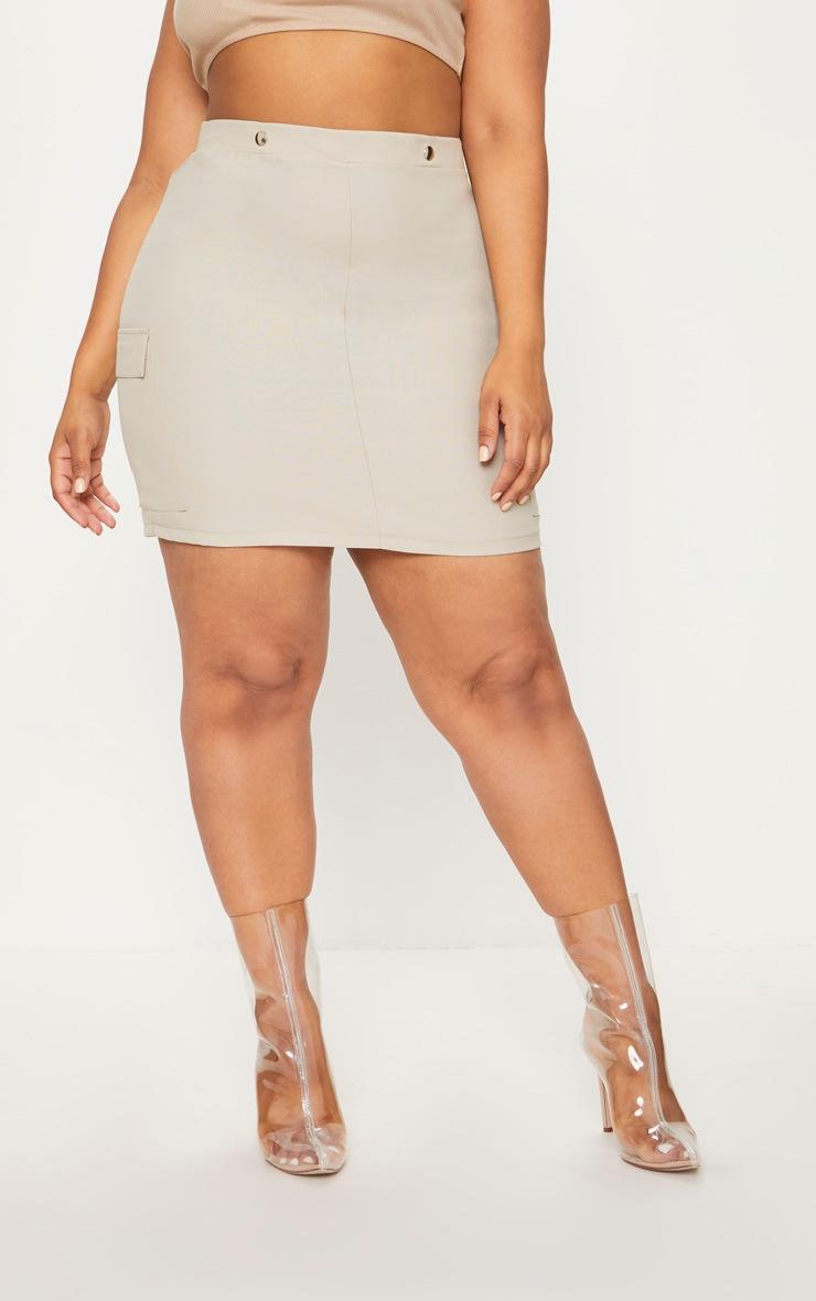 Plus Stone Utility Pocket Detail Bodycon Skirt 2