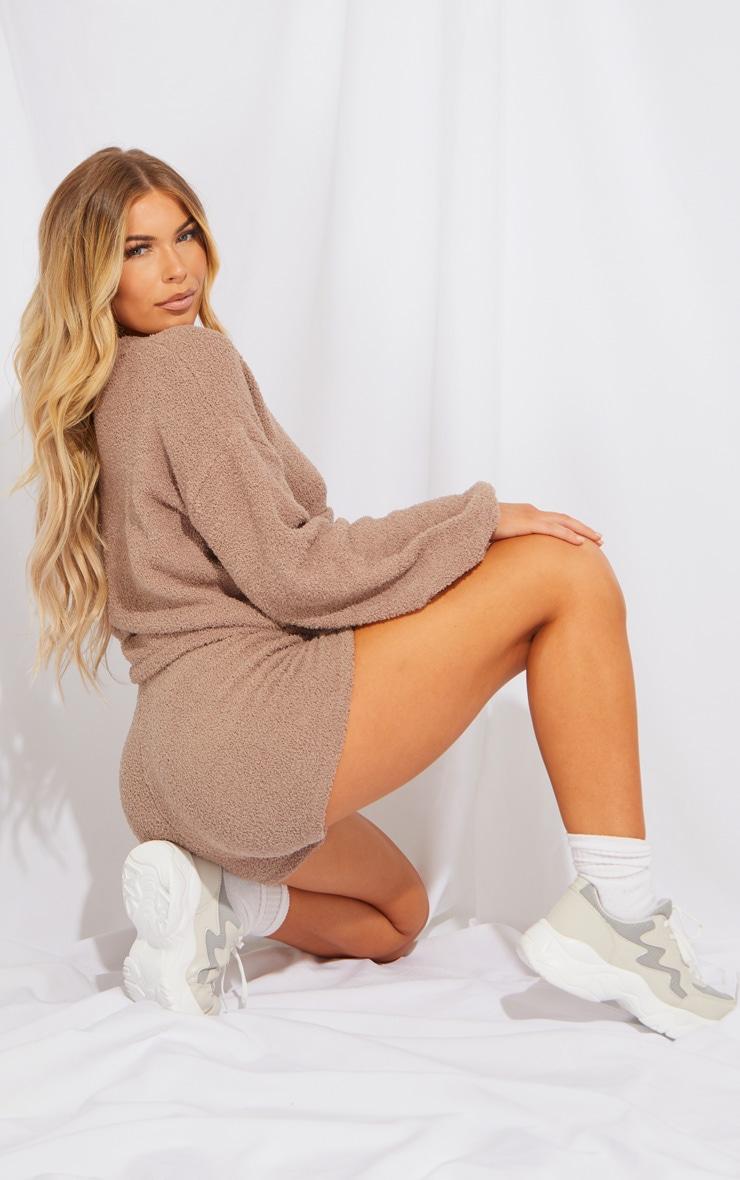 Brown Premium Fluffy Knit Cardigan Shorts Lounge Set 2