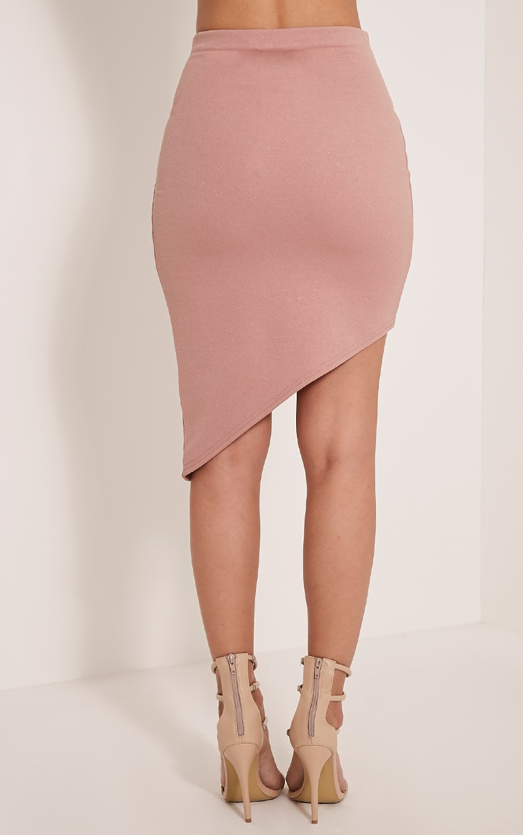 Chloe Dusty Pink Asymmetric Wrap Midi Skirt 5