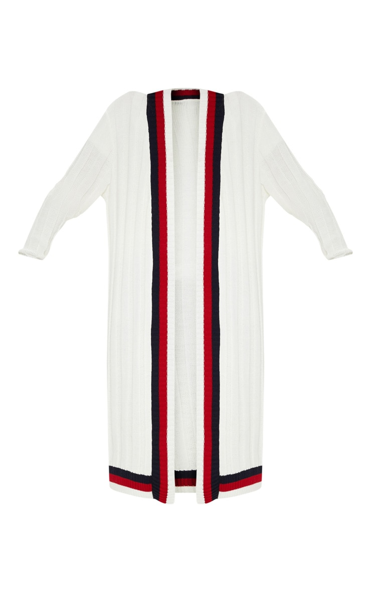 Cream Striped Detailed Ribbed Maxi Cardigan  3