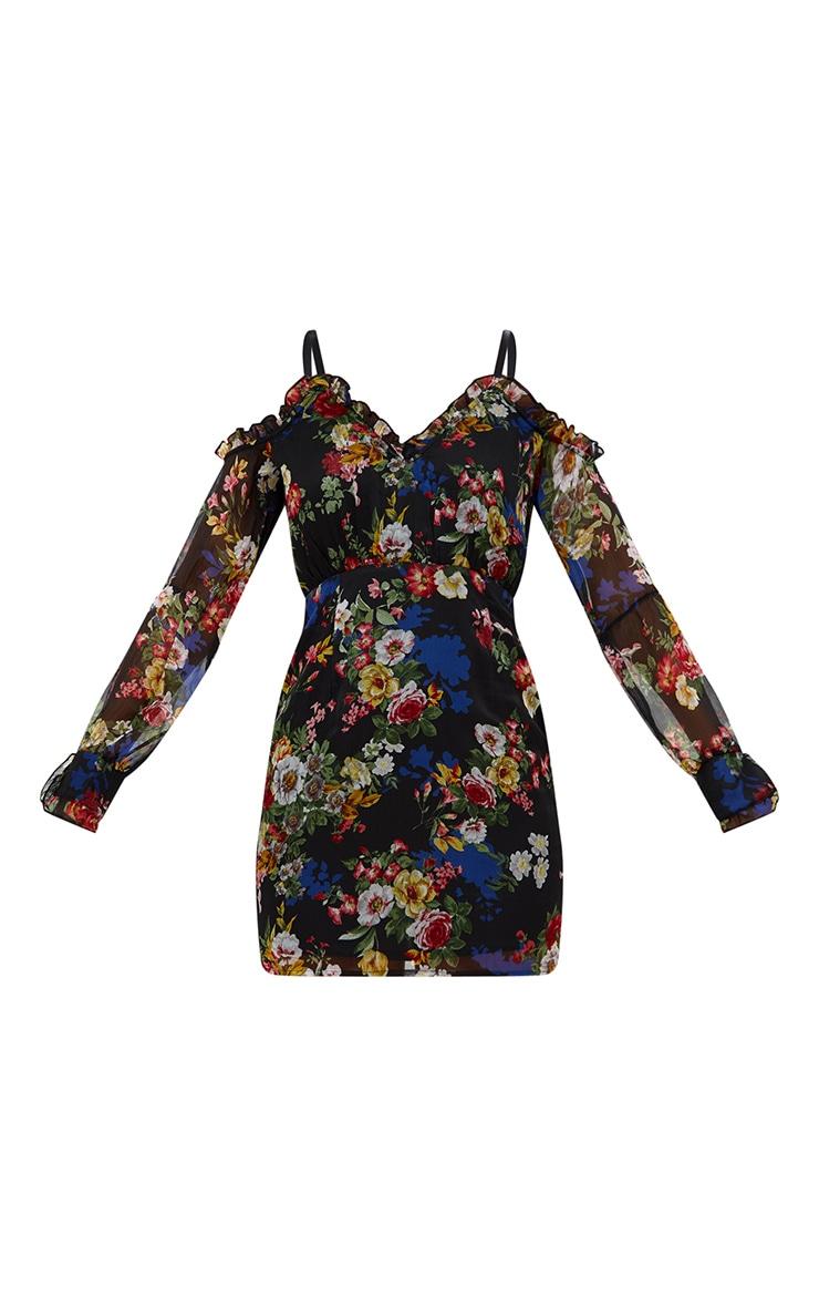 Black Floral Balloon Sleeve Bodycon Dress 3