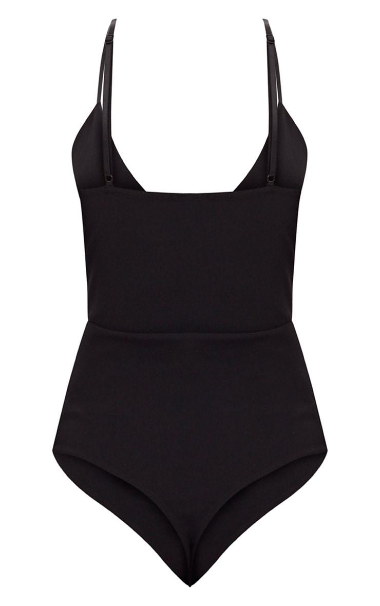 Black Gold Bar Detail Plunge Thong Bodysuit 4