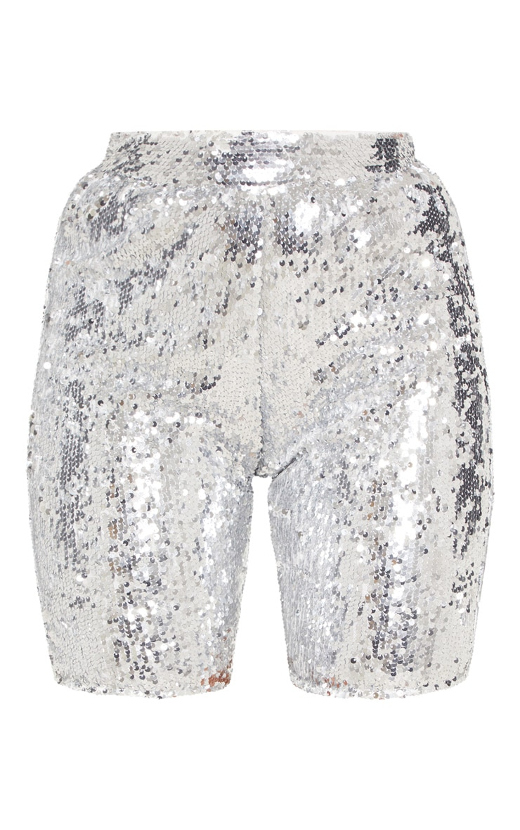 Silver Sequin Cycle Shorts 4