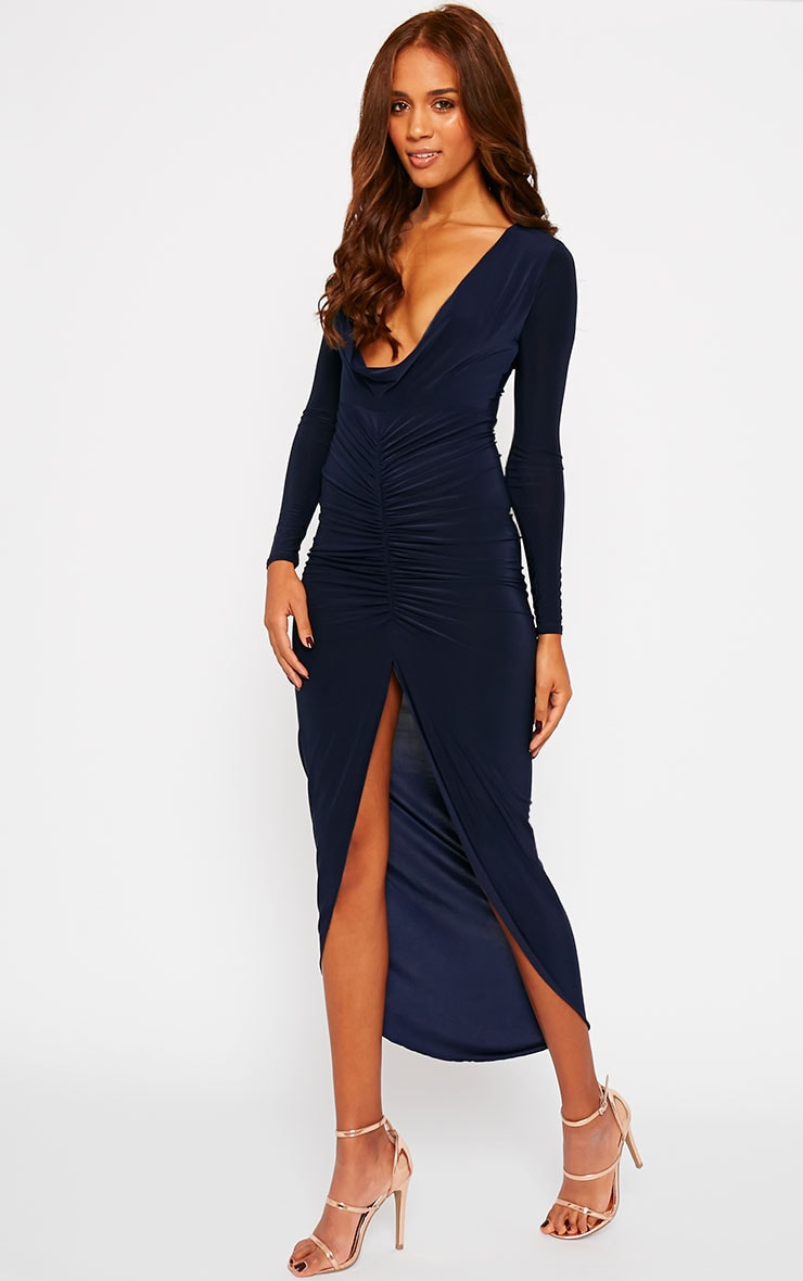 Ellie Navy Slinky Ruched Maxi Dress 3