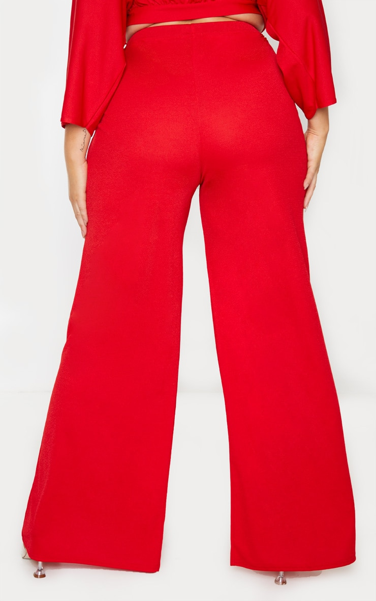 Plus Red Crepe Wide Leg Pants 2
