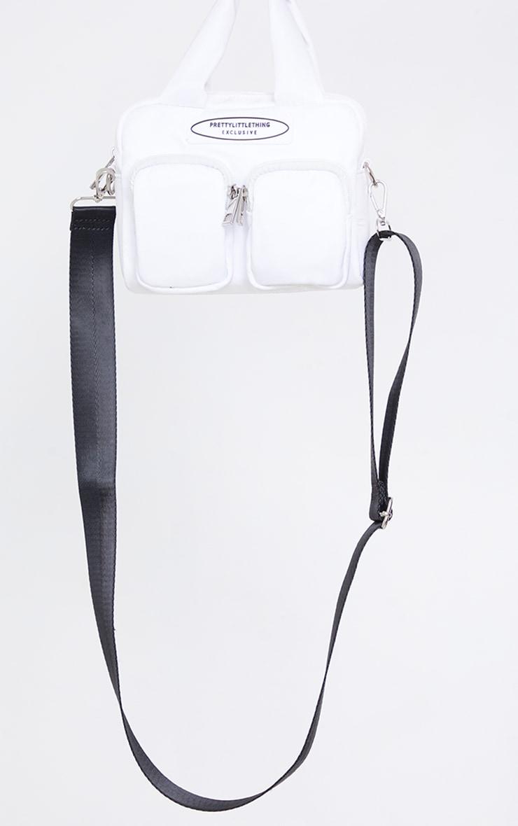 PRETTYLITTLETHING White Nylon Double Front Pocket Cross Body Bag 2