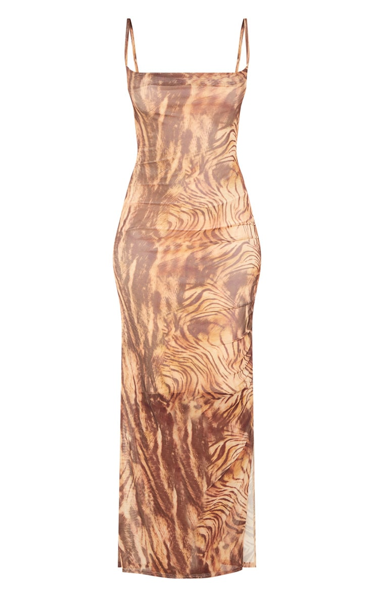 Brown Printed Mesh Ruched Maxi Dress 3