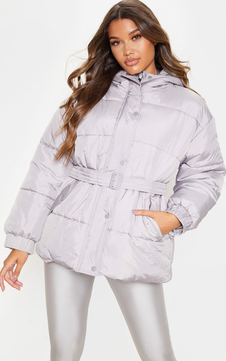 Ice Grey Belted Puffer 1