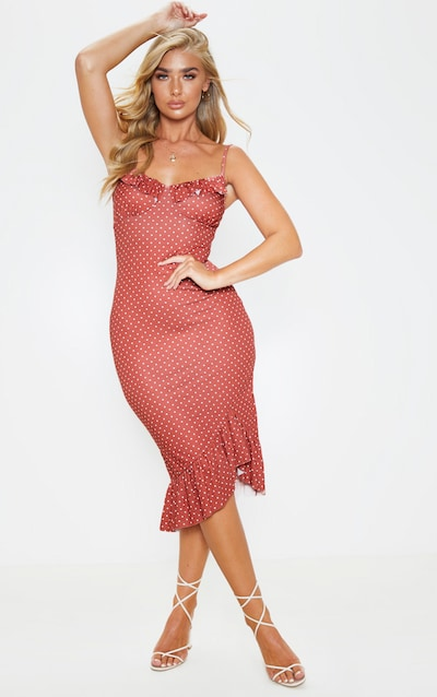 Venus front long sleeve polka bodycon terracotta dress dot ruched near xxl