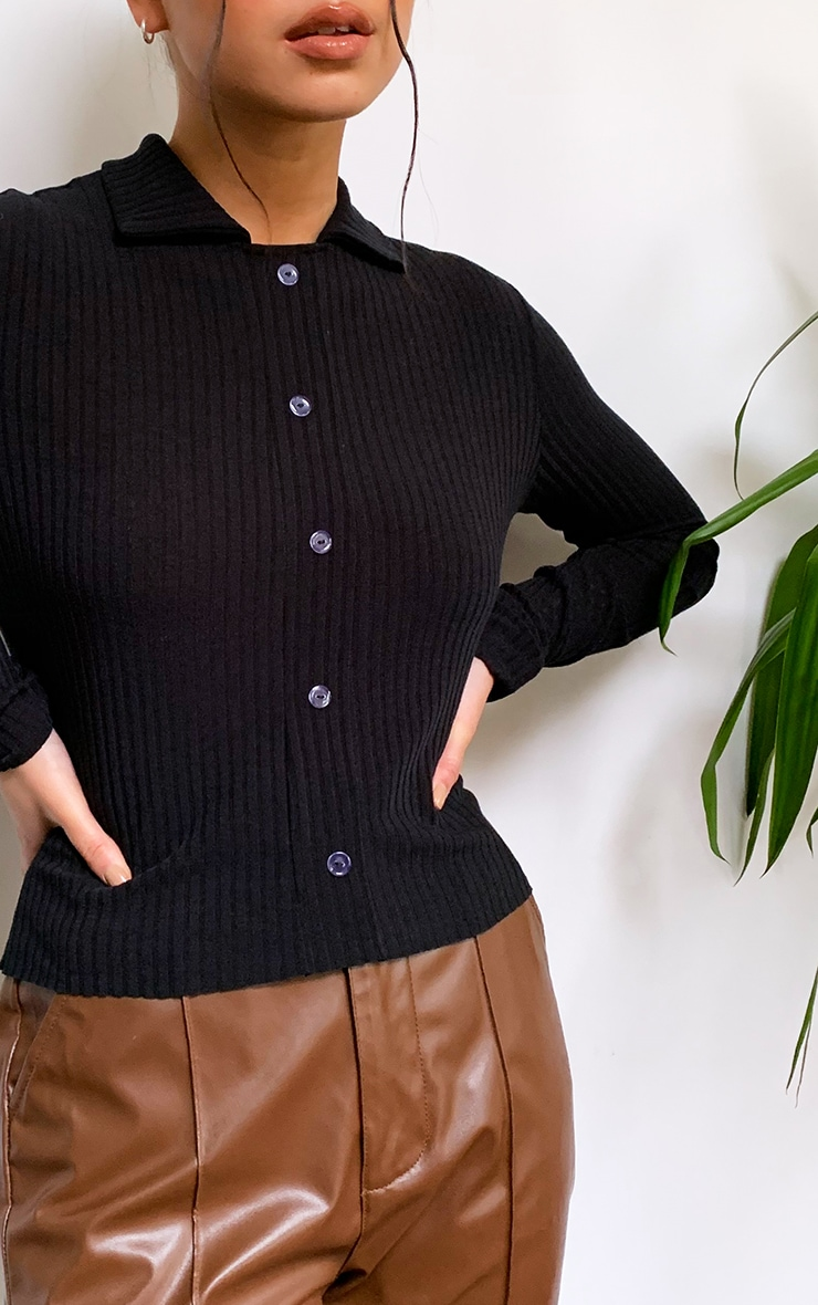 Black Rib Button Up Fitted Shirt 4