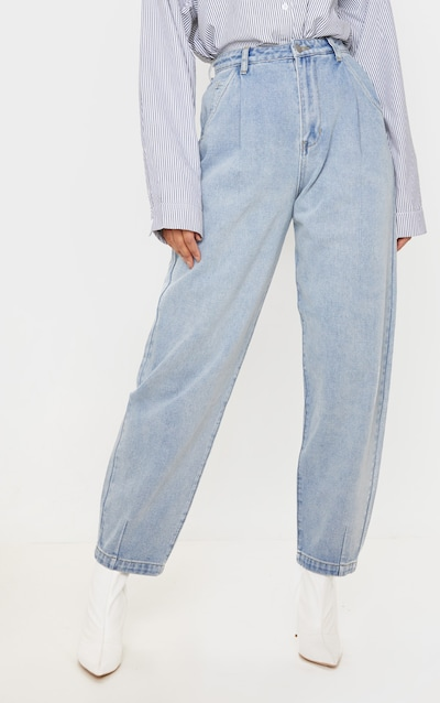 Vintage Wash Pleat Front Balloon Jean