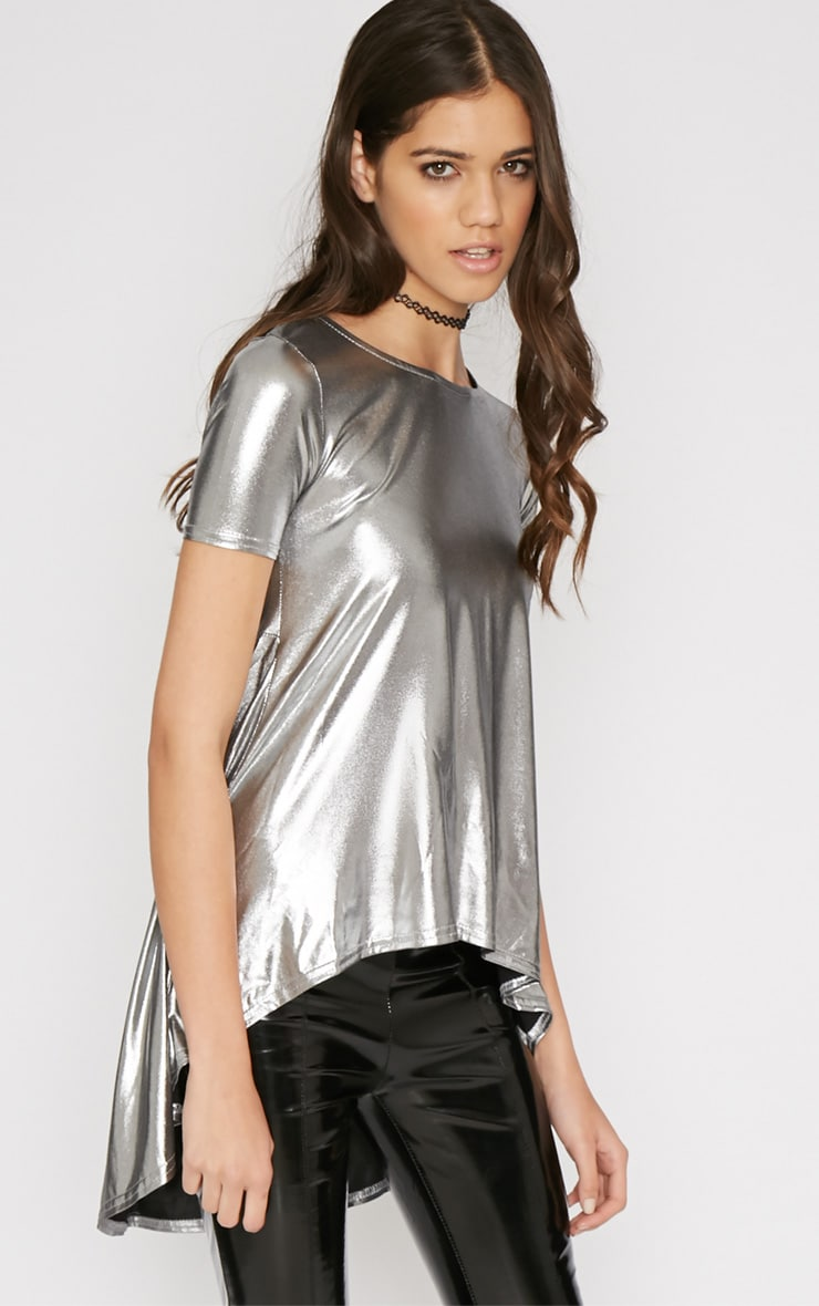 Holly Silver Foil Drop Hem Tee 4