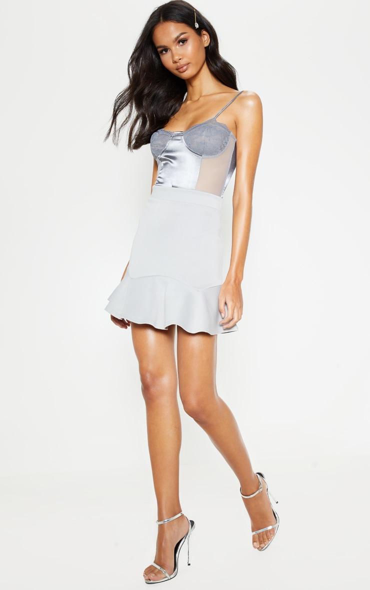 Grey Flippy Hem Mini Skirt 5