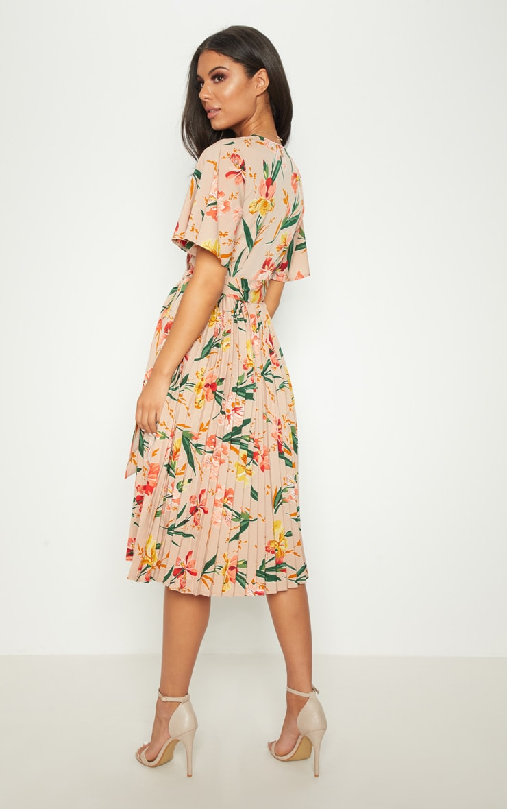 Pink Floral Pleated Midi Dress 2