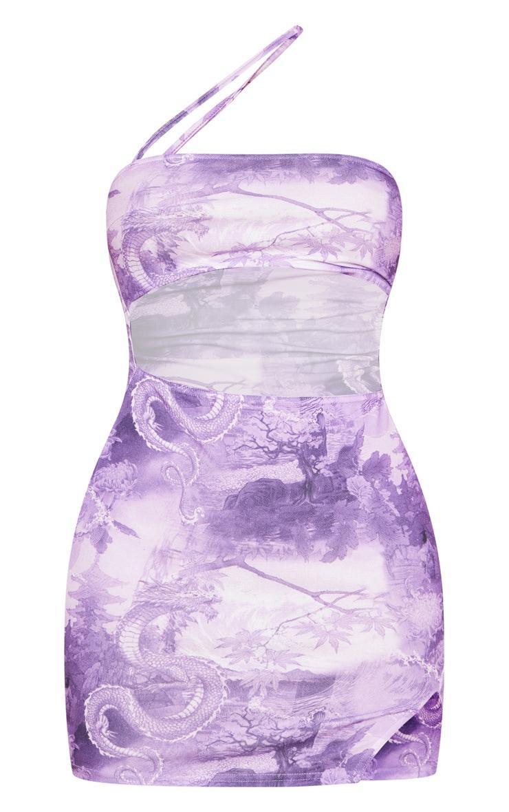 Lilac Print Print Asymmetric Strap Cut Out Bodycon Dress 5