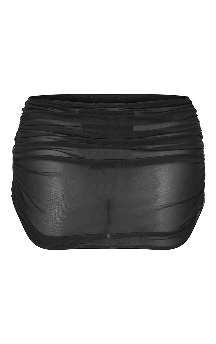 Shape Black Mesh Ruched Beach Skirt 6