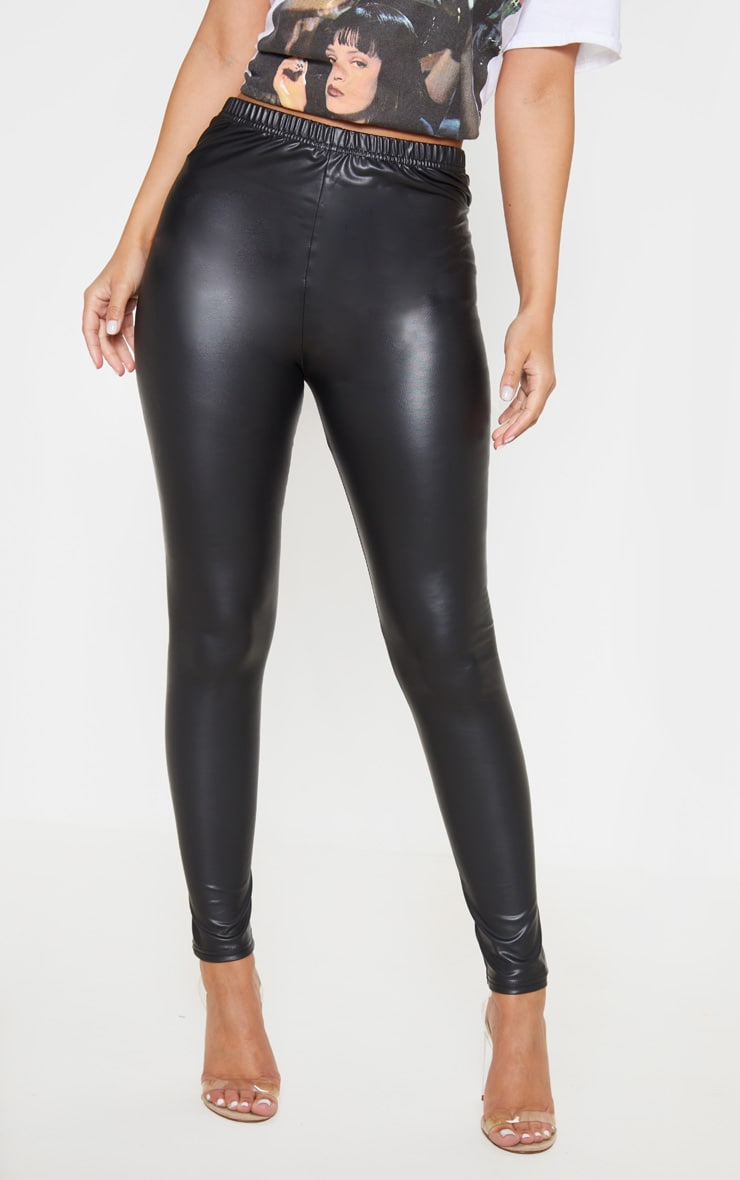 Petite Black PU Leggings 2
