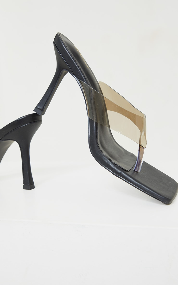 Clear Smoked Toe Thong High Heeled Mules 4