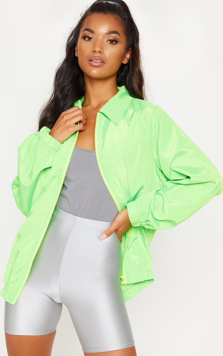 Neon Lime Oversized Shell Suit Jacket  by Prettylittlething