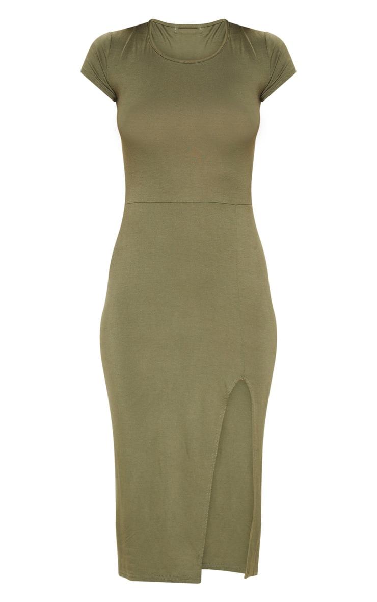Khaki Crew Neck Short Sleeve Split Midi Dress 3