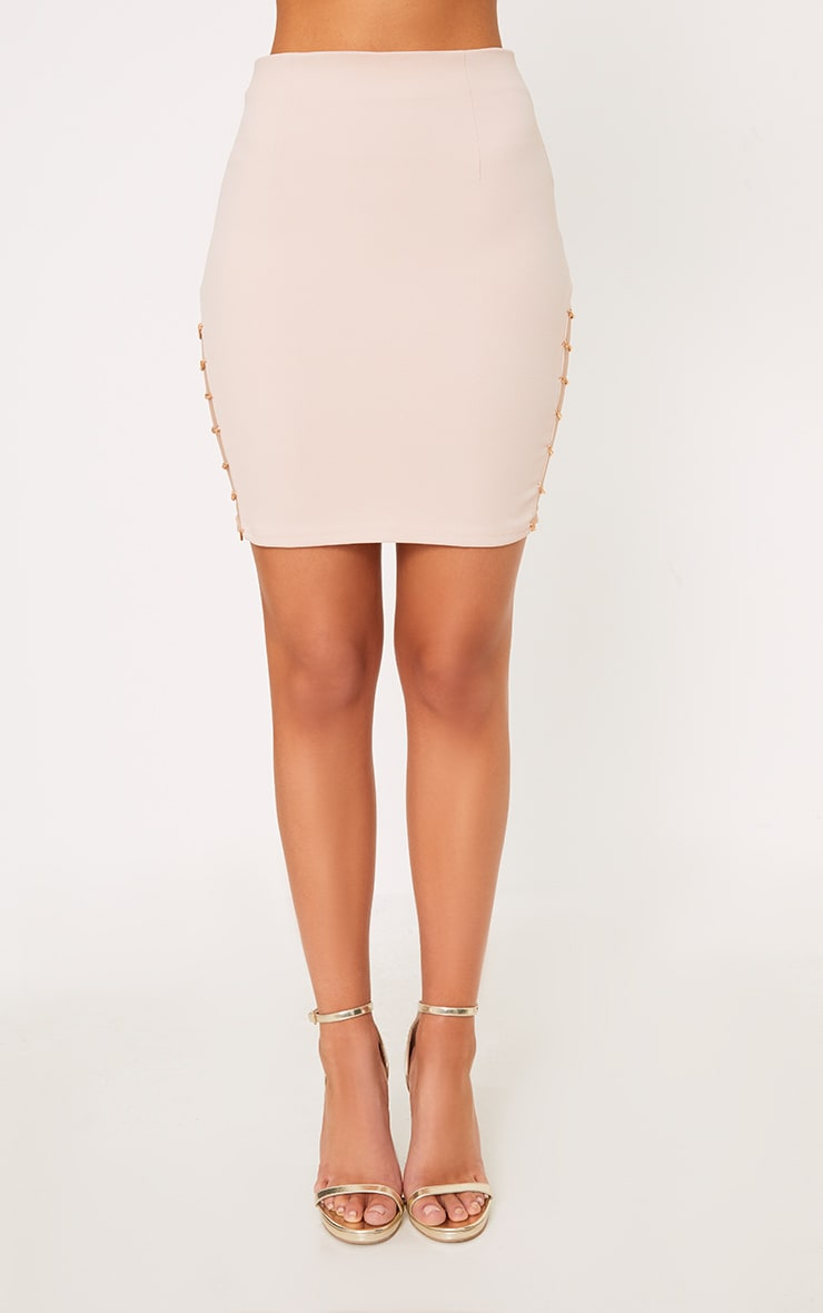 Clea Nude Chain Split Mini Skirt  2