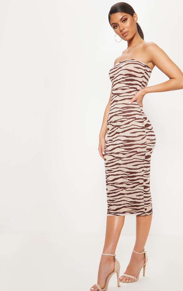 Tan Tiger Print Bandeau Midi Dress 4