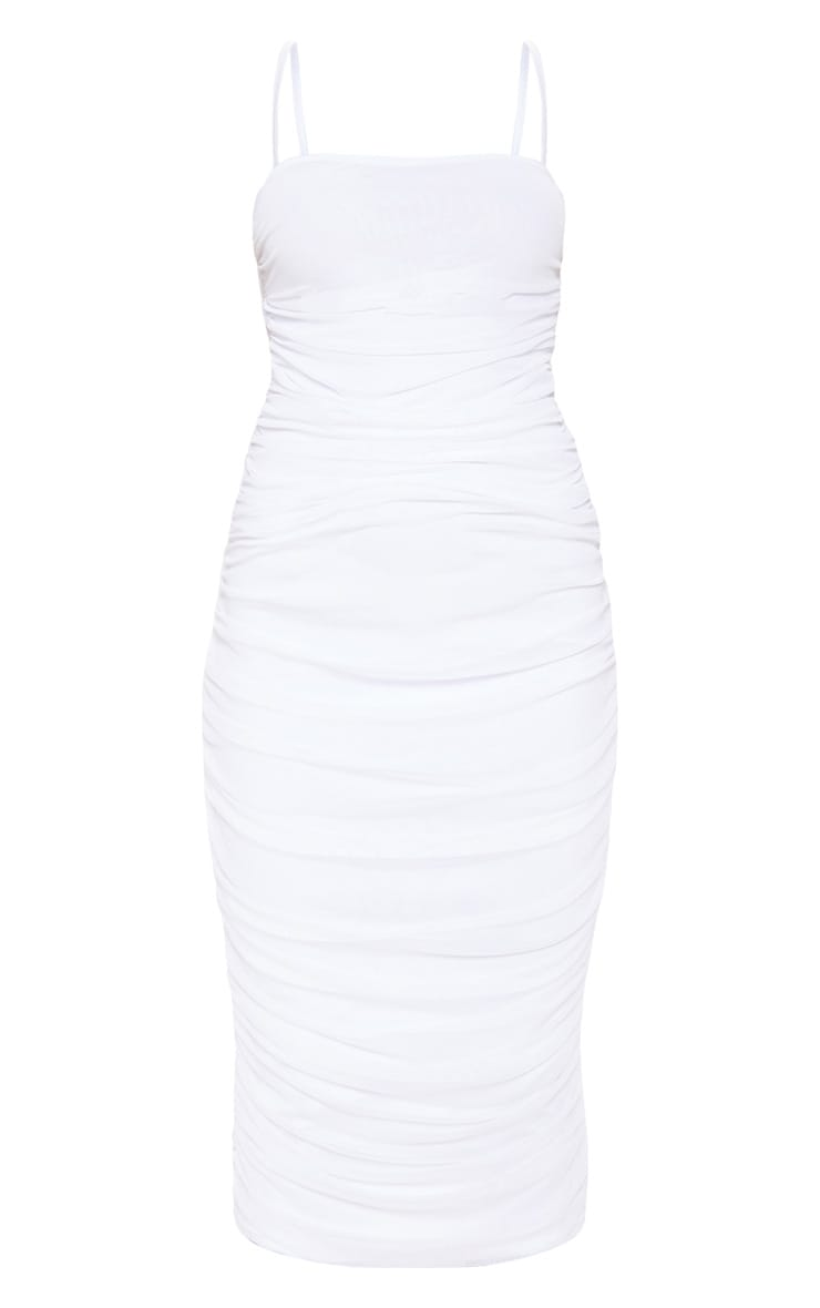 White Strappy Mesh Ruched Midaxi Dress 3