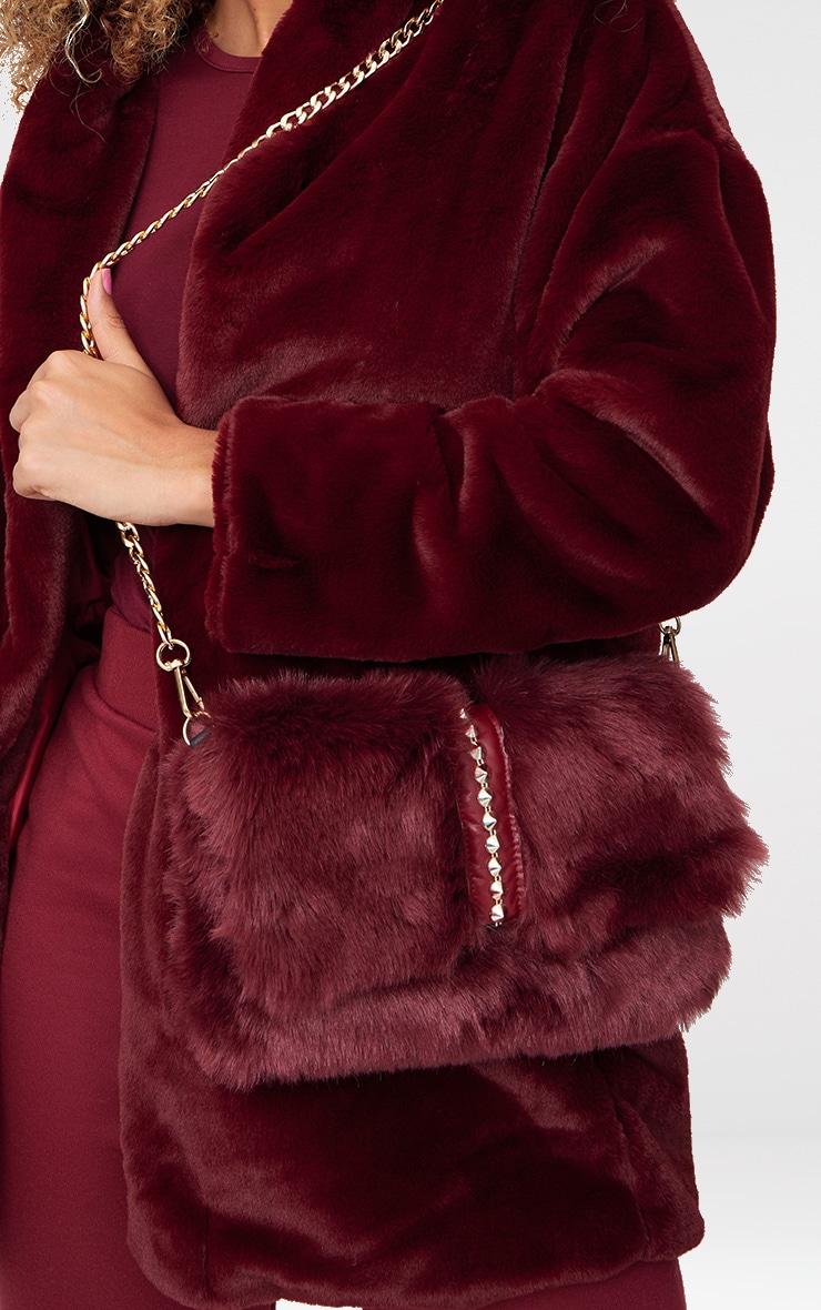 Burgundy Studded Faux Fur Foldover Clutch 5