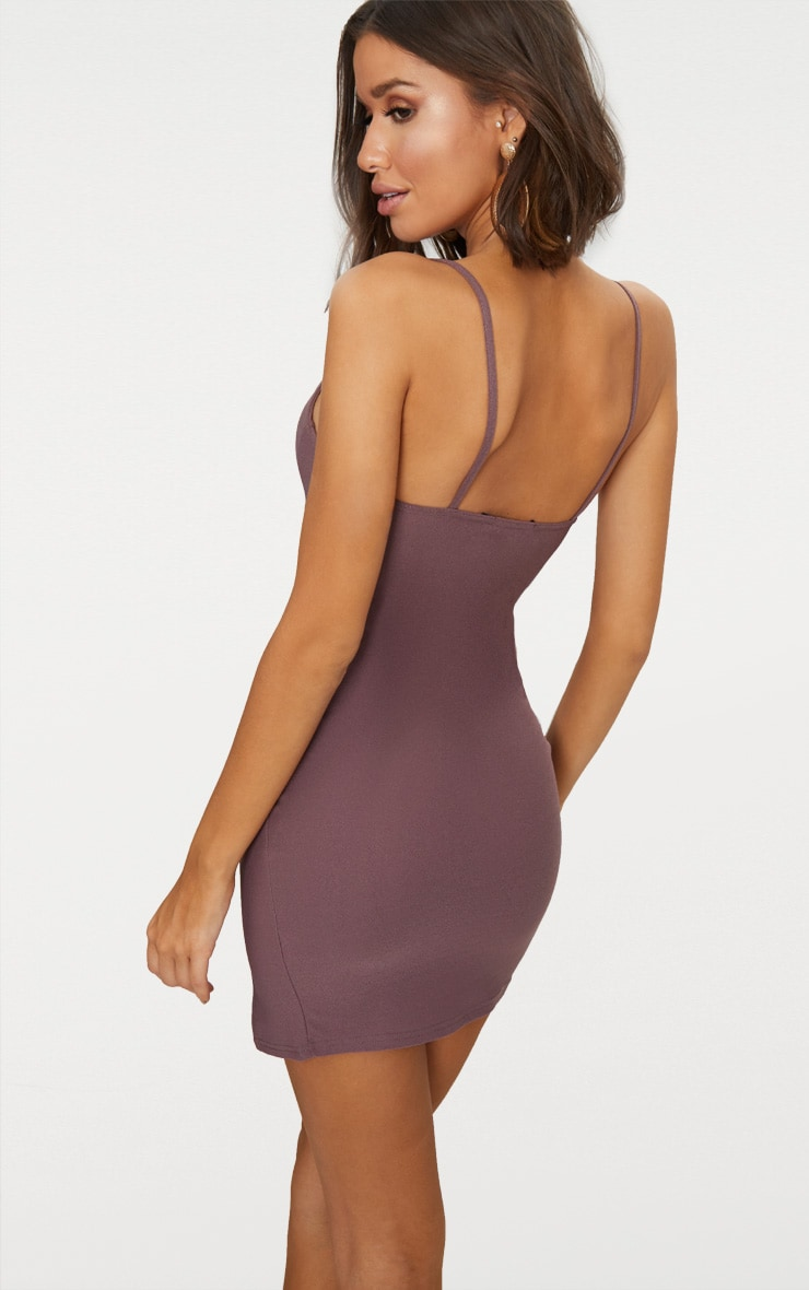 Dark Mauve Strappy Plunge Split Detail Bodycon Dress 2