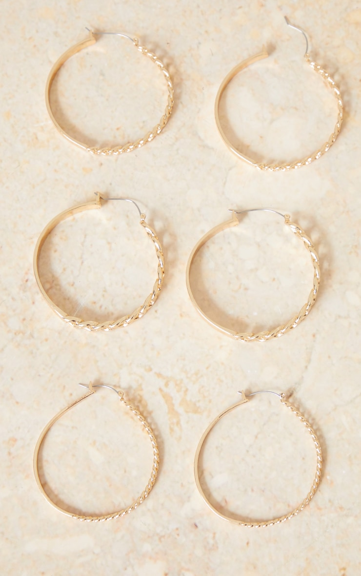Gold 3 Pack Assorted Chain Hoop Earrings 3