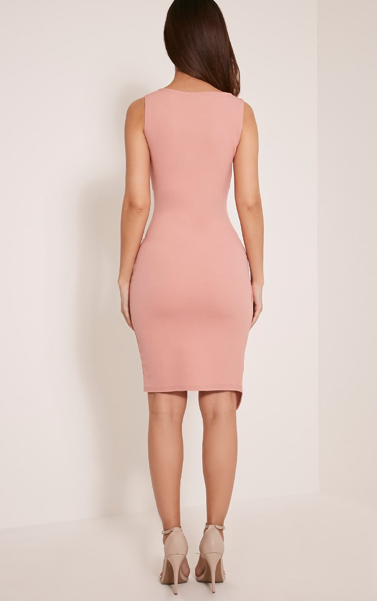 Karley Dusty Pink Wrap Front Crepe Midi Dress 3