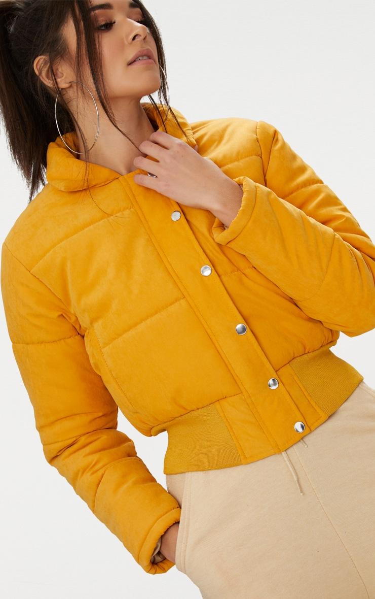 Mustard Peach Skin Cropped Puffer Jacket 5